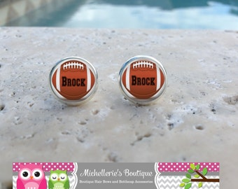 Monogram Football Earrings, Football Jewelry, Football Accessories, Personalized Football,Gifts for Her, Gifts under 10