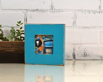 3x3 Picture Frame in Escalante Style with Vintage Turquoise Finish - IN STOCK - Same Day Shipping - 3 x 3 Square Photo Frame Blue Green