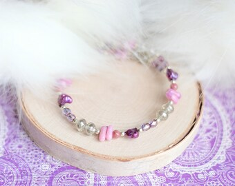 Light Purple Bracelet, Lilac Coral, Czech Glass Bracelet, Pink Rhondite Gemstone Wrap Bracelet, Royal Purple Freshwater Pearl Jewelry
