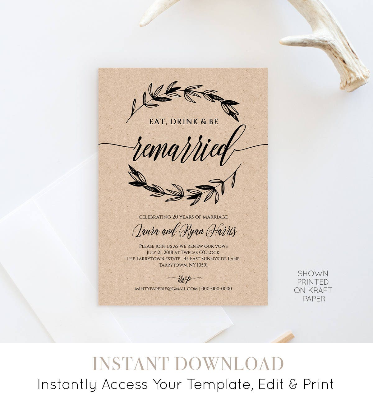 Vow Renewal Invitation Template, Eat Drink Be Married, Instant ...