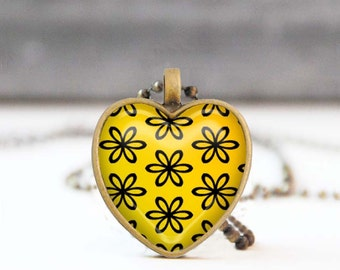 Yellow heart necklace, Floral heart shaped Photo necklace, Bridesmaid gift, Love gift for her, 5011-7