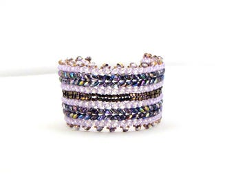 Lavendar and Amethyst Angles Cuff bracelet