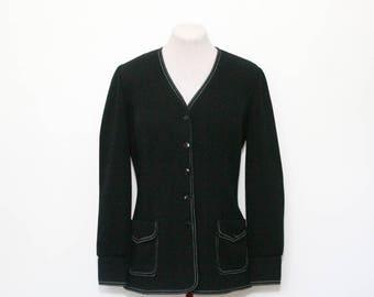 vintage black knit blazer | jacket