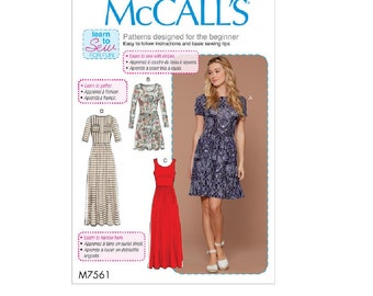 McCall's MP540 (7561) - Pullover, Gathered-Waist Knit Dresses with Sleeve and Hem Options