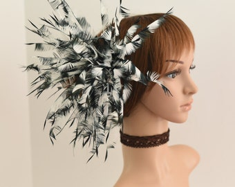 Kentucky Derby, Church, Wedding, Tea Party, Bridal Hair Clip,Wedding Hair Clip,Jumbo Feather Flower Clip Fascinator 080 (Black/White)