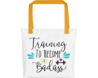 Training to Become a Badass - Gym Bag - Workout Bag - Oversized Tote - Exercise Bag - Funny Gym Bag - Beach Bag - Yoga Bag