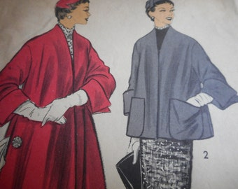 Vintage 1950's Advance 6834 Coat Sewing Pattern Size 12 Bust 30