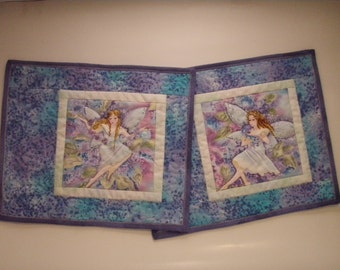 Quilted Mug Rug Handmade - set of 2 - Fairies in the Flowers Quiltsy