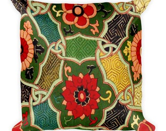 Square  Throw Pillow Floral Geometric Oriental Design Print 18 inches by 18 inches