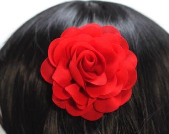 Red Chiffon Rose Hair Flower Clip