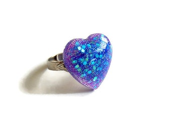 Iridescent Heart Ring, Purple Blue Ring, Resin Jewelry