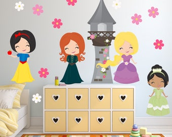 Princess Wall Decal, Girls Room FABRIC Wall Sticker Decal, Reusable Non-toxic No PVCs, SD43