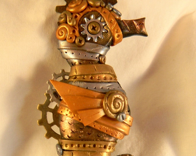 Steampunk Seahorse Metallics Necklace Polymer Clay