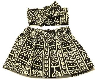 Black African Ankara Skirt, Headwrap, African Baby Clothes, Hair Wrap, Hair Accessory, Girls Clothing