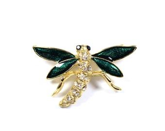 Vintage green dragonfly brooch, green enamel dragonfly pin, rhinestone pin, goldtone, inseect jewelry, dragon fly, figural brooch, kitsch