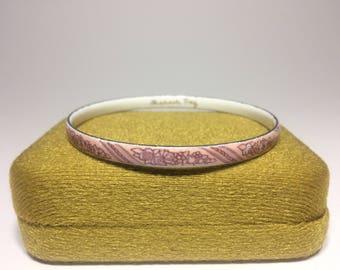 Michaela Frey Bangle, Enamel Bracelet, Vintage Jewellery, Floral Design, Light Pink, Dusty Rose Pink, Made in Vienna
