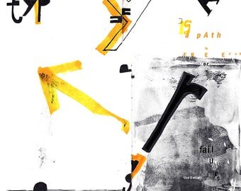 Black and yellow illustration about typography and communication