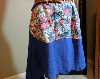 Short festival linen and denim asymmetrical skirt