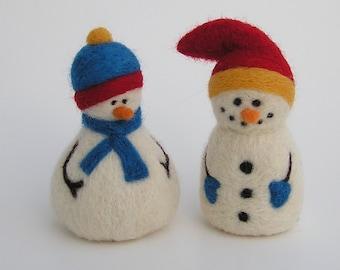 Needle Felting Kit - Snazzy Snowmen - Wool Snowman Kit from Purple Moose Felting