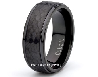 Mens Cobalt Wedding Band Domed Brushed Top Stepped Edge