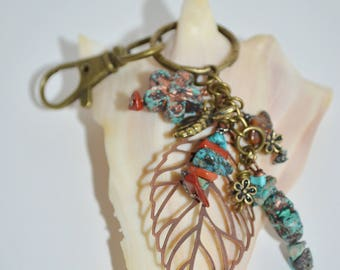 Swivel Clip Keychain Copper Leaf, Turquoise & Jasper Keychain, Flower and Leaf Keychain