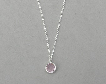 8 mm June Birthstone- Light Amethyst Drop Necklace Gold or Silver plated