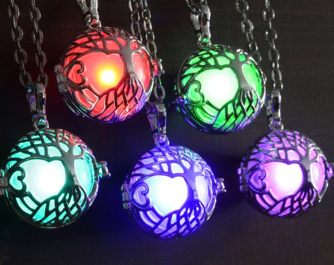 Glowing Tree of Life Pendant, Celtic Necklace - Silver