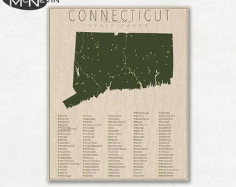 CONNECTICUT PARKS, State Park Map, Fine Art Photographic Print for the home decor.