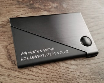 Business Card Holder, Diagonal Gunmetal & Black with Free Engraving, Personalized Custom Business or Credit Card Holder