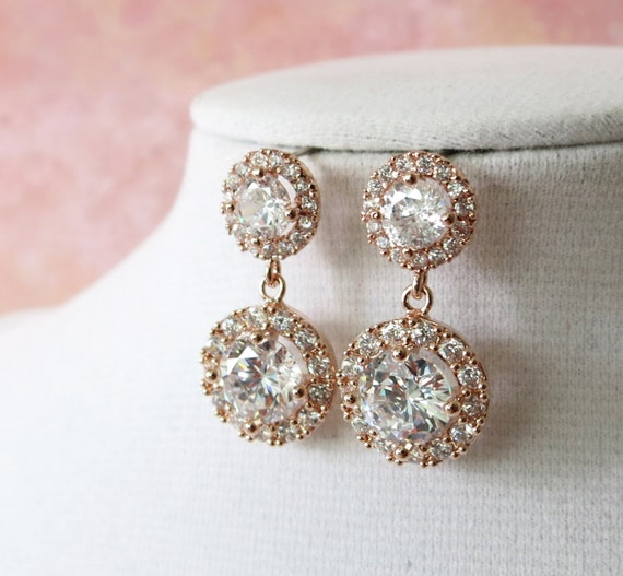 Deluxe Rose Gold Cubic Zirconia Halo style Round Teardrop dangle Earrings, Bridal Cubic Zirconia earrings, Classic Hollywood