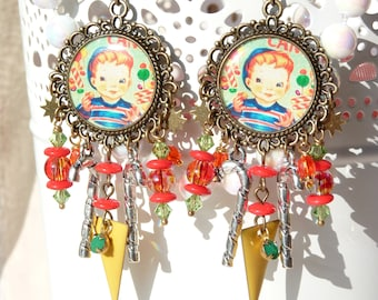 Boy Eating Candy Cane Handmade Resin Chandelier Earrings - Candy Cane Earrings - Candy Cane Jewelry - Retro Earrings - Colorful - Gift Ideas