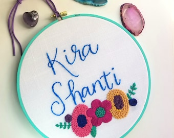 Customized name embroidery, nursery decor, hand embroidery, baby gift,  floral art, hoop art