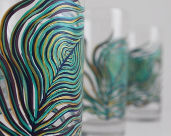 Peacock Feather Glassware - Everyday Drinking Glasses - Hand Painted Glasses