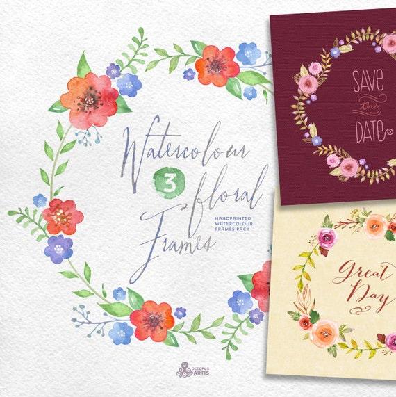 Watercolour Floral Frames: 8 digital files. Handmade