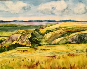 Rolling Hills - Original Watercolor