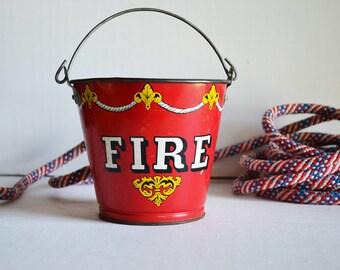 Vintage Ohio Art Fire Pail   Sand Bucket   Fireman Colletible   Americana   Fire Bucket   Sand Pail   Vintage Red Metal Pail