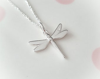 Dragonfly Necklace, Silver Dragonfly Necklace, Silver Dragonfly, Sterling Silver, Dragonfly Jewelry, Gift For Her