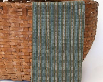Handwoven Cotton Dishtowel in Olive and Blue Twill Stripes