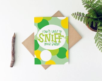 Funny Baby Card - Funny Baby Shower Card - Sniff Your Baby Card - Gender Neutral Baby Shower Gift - New Mom Card - New Dad Card