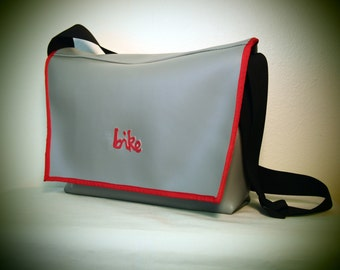 SALE// Gray and Red Vinyl Messenger Bag
