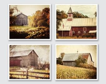 Farmhouse Decor, Barn Art Set, Landscape Prints, Set of 4, Gold Red Brown Beige Cream, Rustic Home Decor, Canvas, Country Home Decor.