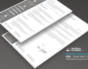 Resume + Cover Letter | Update Resume, CV Template, 1 Page Clean Resume, Modern Template for Word | 100% Customizable
