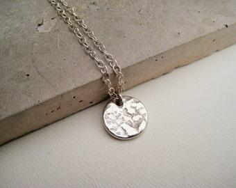 Silver disk pendant necklace, silver minimalist necklace, fine silver necklace, sterling silver necklace, silver art clay necklace, So You