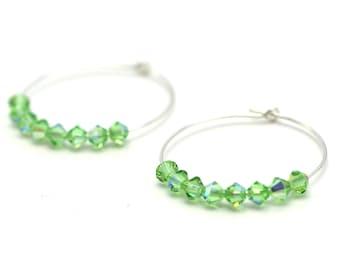Gemstone Hoop Earrings • Green Crystal Earrings • Silver Hoops • Peridot Earrings • August Birthstone Earrings • Boho Earrings • Swarovski