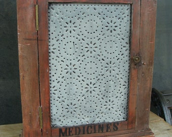Vintage Or Antique Primitive Distressed Wood And Tin Punch Punched Decorated Medicine Cabinet Rustic Country Cottage Farm House Home Decor