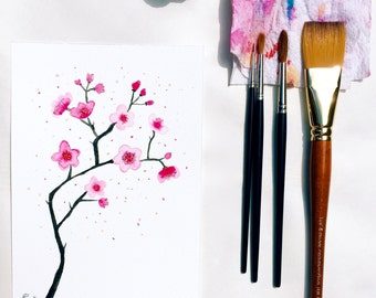 Floral watercolor, Cherry blossom | Original painting