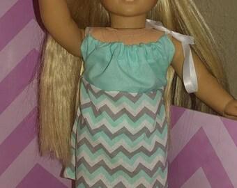 Doll Dress 18 Inch blue with chevron