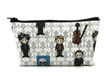 Sherlock Holmes and Watson Zipper Pouch,  Tampon Case, Makeup Bag, Toiletry Bag, Cosmetic Bag, Sherlock s Zipper Pouch, Makeup Organizer