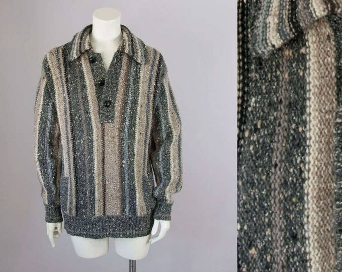 70s Vintage Textured Wool Collared Pullover Striped Sweater. Unisex (S, M, L)
