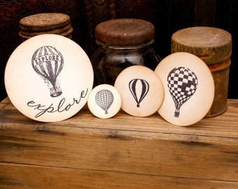 Hot Air Balloons Scrapbooking Ephemera Embellishments Set of 4